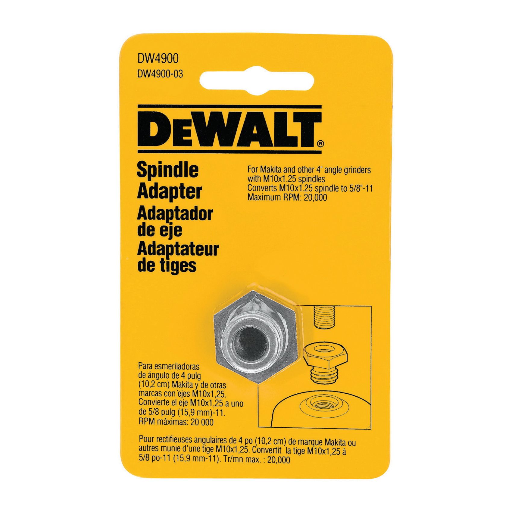 DeWALT® DW4900 Spindle Arbor Adapter, Metal
