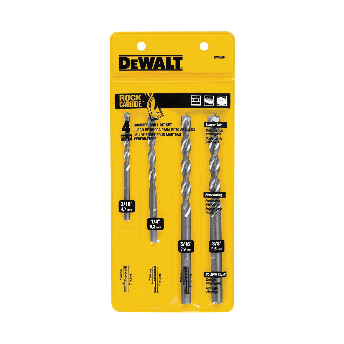 Black+Decker® DW5207 Premium Percussion Hammer Drill Bit Set, 3/16 in Min Drill Bit, 1/2 in Max Drill Bit, 7 Pieces, For Use With All Brands Electric and Cordless Hammer Drills Including DeWALT®, Bosch® and Hilti®, Carbide Tip, Bright