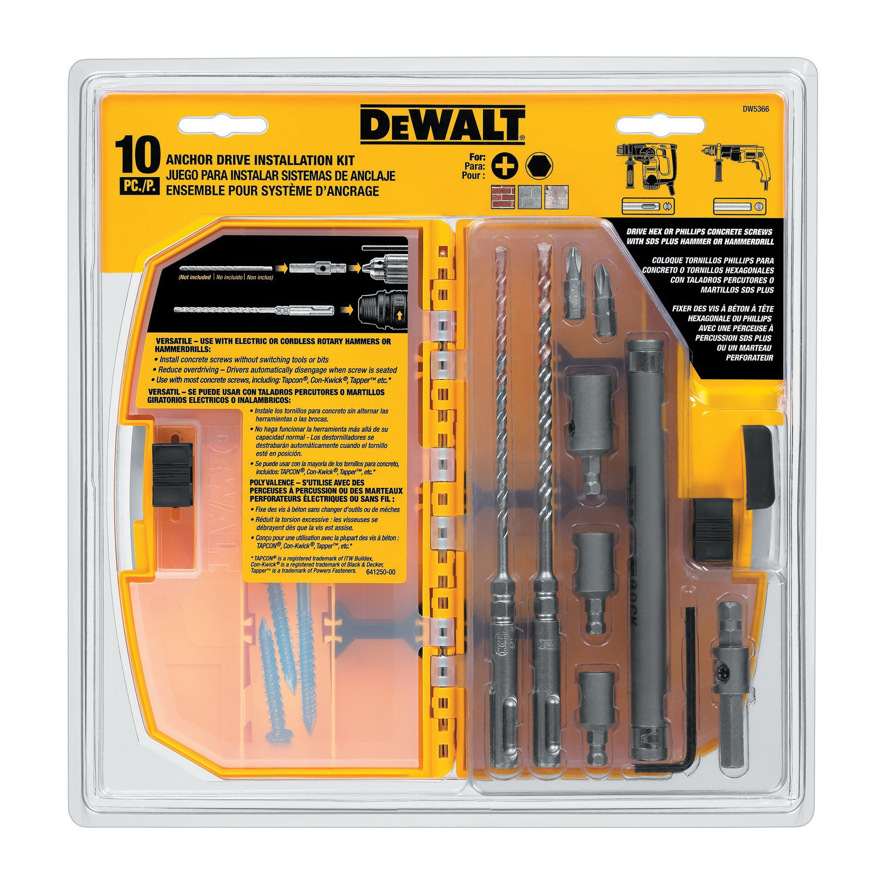 Black+Decker® DW5366 Masonry Anchor Installation Kit, 10 Pieces, For Use With SDS Rotary Hammers, Carbide Tip, Uncoated