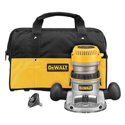 DeWALT® DW616K Fixed Base Router Kit, Toggle Switch, 1/4 in, 1/2 in in Chuck, 24500 rpm Speed, 1-3/4 hp, 120 VAC