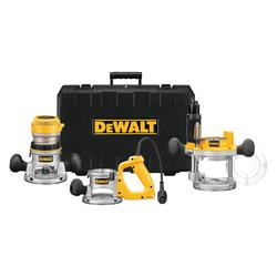 DeWALT® DW618B3 3-Base EVS Router Kit, Trigger Switch, 1/4 in, 1/2 in in Chuck, 8000 to 24000 rpm Speed, 2-1/4 hp, 120 VAC