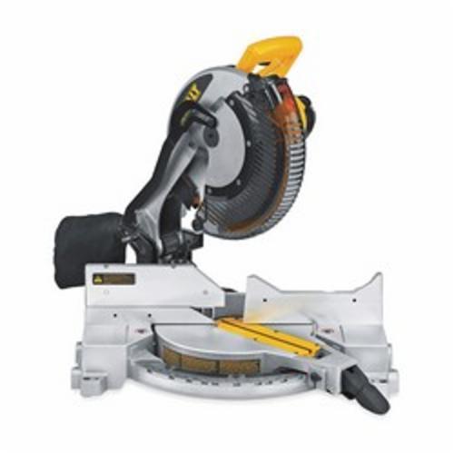 DeWALT® DW715 Single Bevel Compound Miter Saw, 12 in Dia Blade, 5/8 in, 1 in Arbor/Shank, 3-5/8 in H x 5-5/8 in W at 45 deg, 3-1/2 in H x 7-7/8 in W at 90 deg Cutting, 0 to 50 deg Miter, -3 to 48 deg Bevel