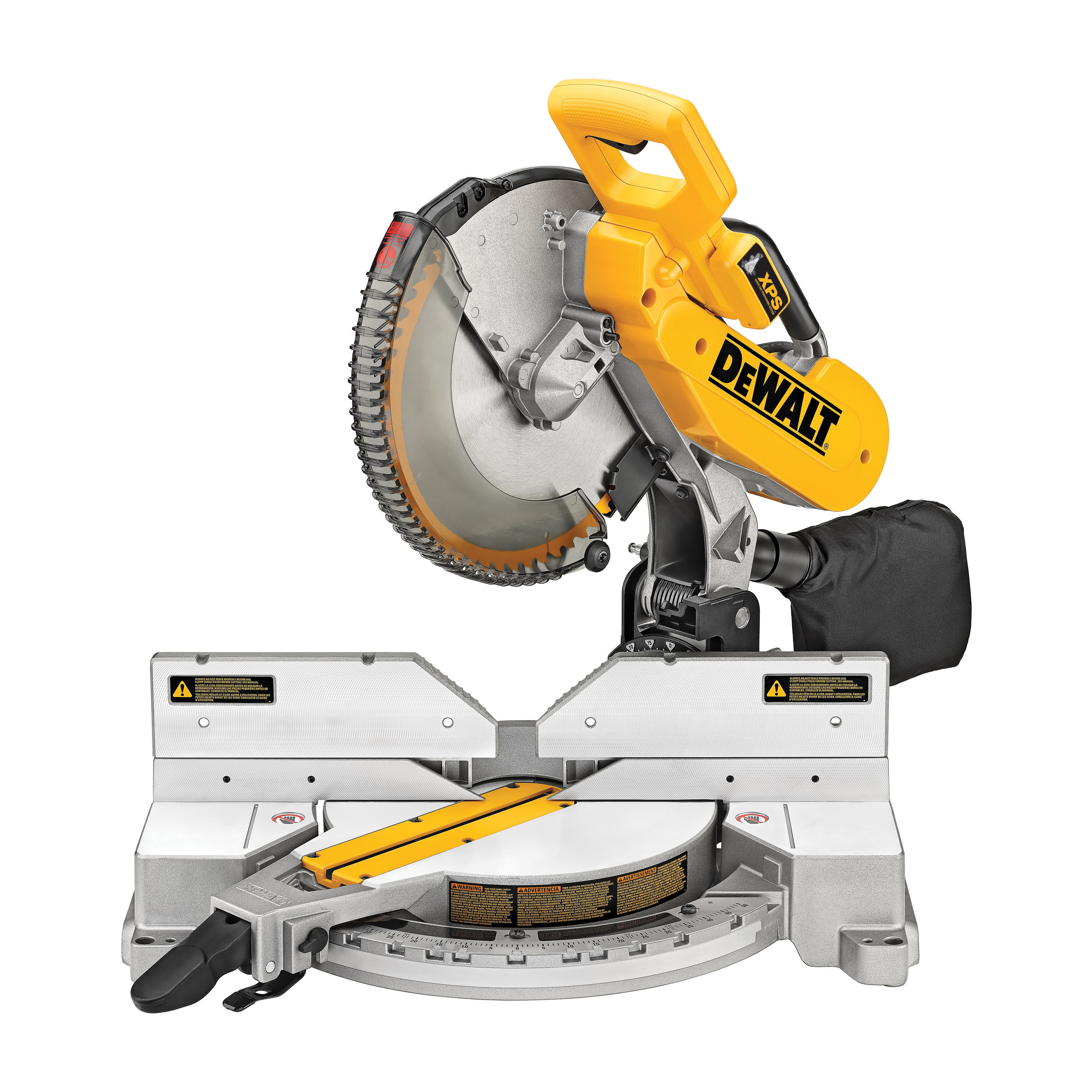DeWALT® DW716XPS Double Bevel Compound Miter Saw, 12 in Dia Blade, 5/8 in, 1 in Arbor/Shank, 2 x 8 in, 4 x 6 in, 6-1/2 in, 10 in, 6-1/2 in, 6-5/8 in Cutting, 4 x 6 in at 45 deg Miter, 2 x 8 in at 45 deg Bevel