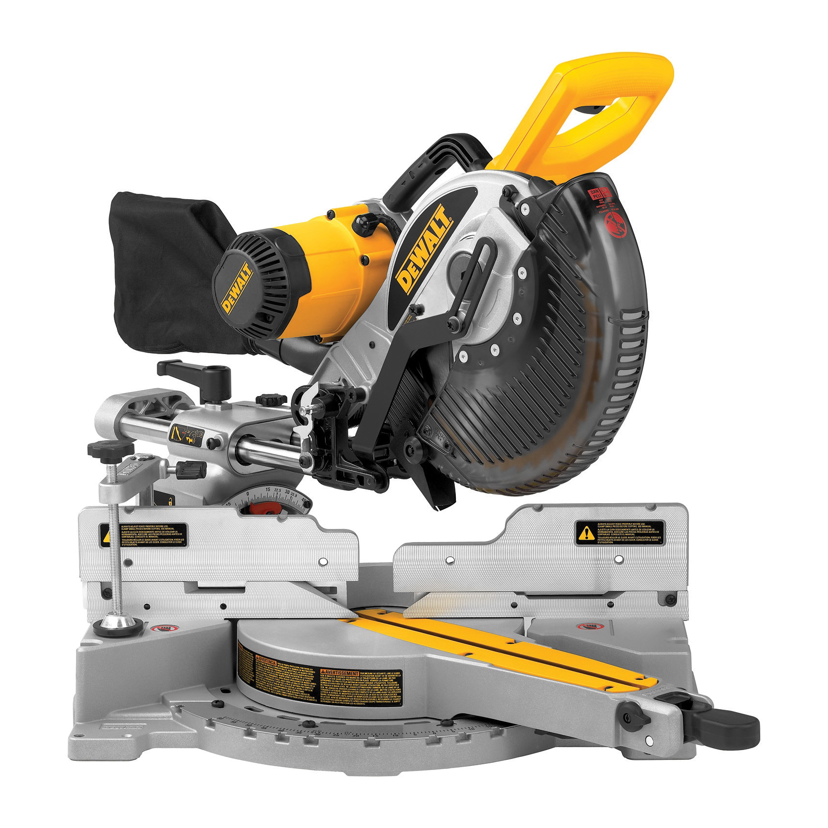 DeWALT® DW717 Double Bevel Sliding Compound Miter Saw, 10 in Blade, 5/8 in Arbor/Shank, 6 in Left, 3-1/2 in Right Vertical, 6-1/4 in Vertically Nested, 14 in Horizontal Cutting, 60 deg Left/52 deg Right Miter, 0 to 48 deg Left/Right Bevel