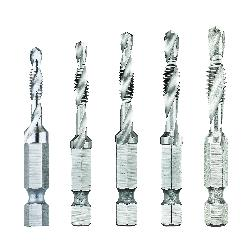 DeWALT® DWADTQTR5SET Impact Ready® Combination Drill and Tap Set, 5 Pieces, #8-32 to 1/4-20 UNC/UNF Thread, 2 Flutes, Right Hand Cutting