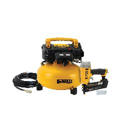 DeWALT® DWC1KIT-B Brad Nailer and Compressor Kit, 5/8 to 2 in Fastener, Coil/Wire Collation, 300 to 350 Nails Magazine, 165 psi
