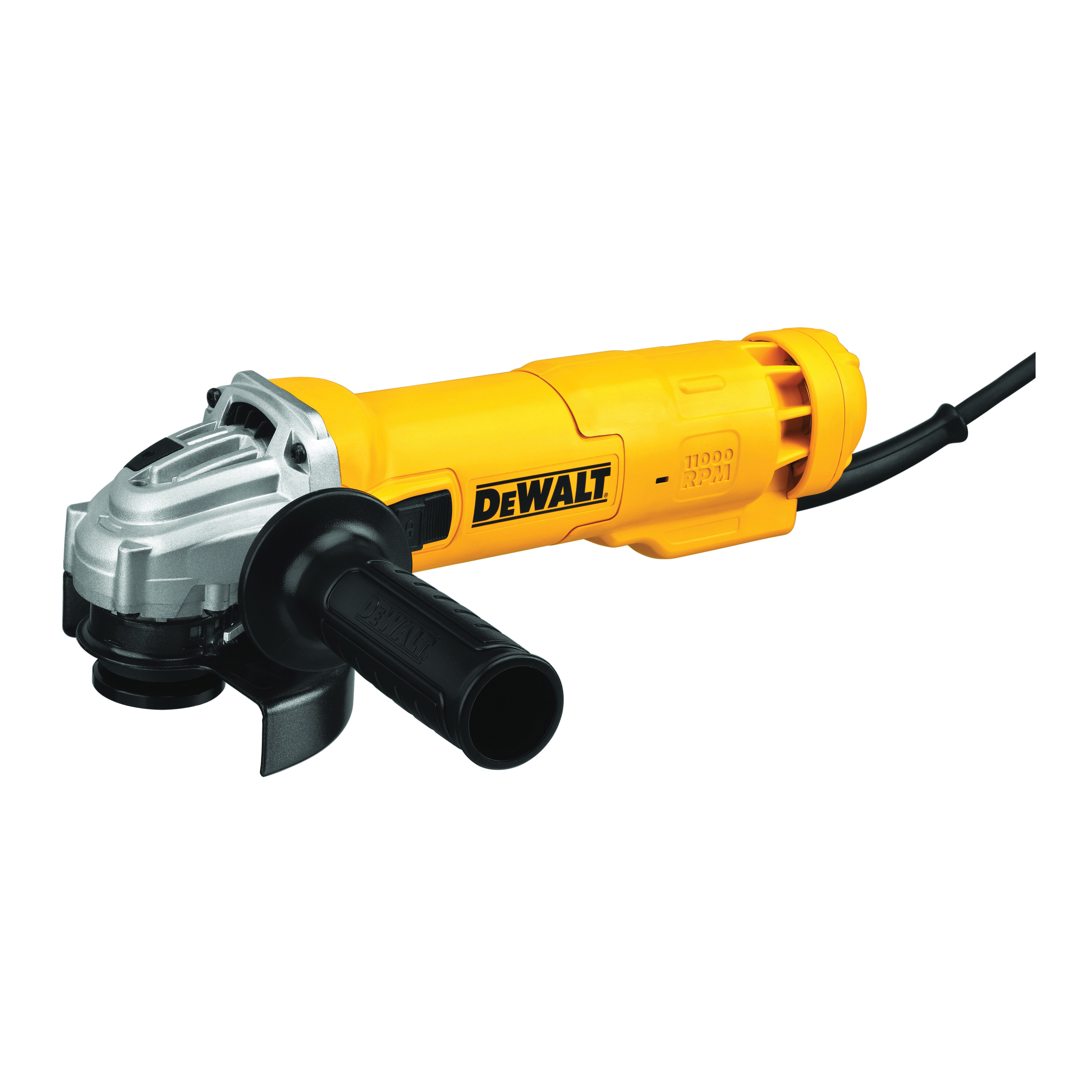 DeWALT® DWE4214 Low Profile Small Electric Angle Grinder, 4-1/2 in Dia Wheel, 5/8-11 UNC Arbor/Shank, 120 VAC, For Wheel: Quick-Change™, Black/Yellow, Lock-On Slide Switch