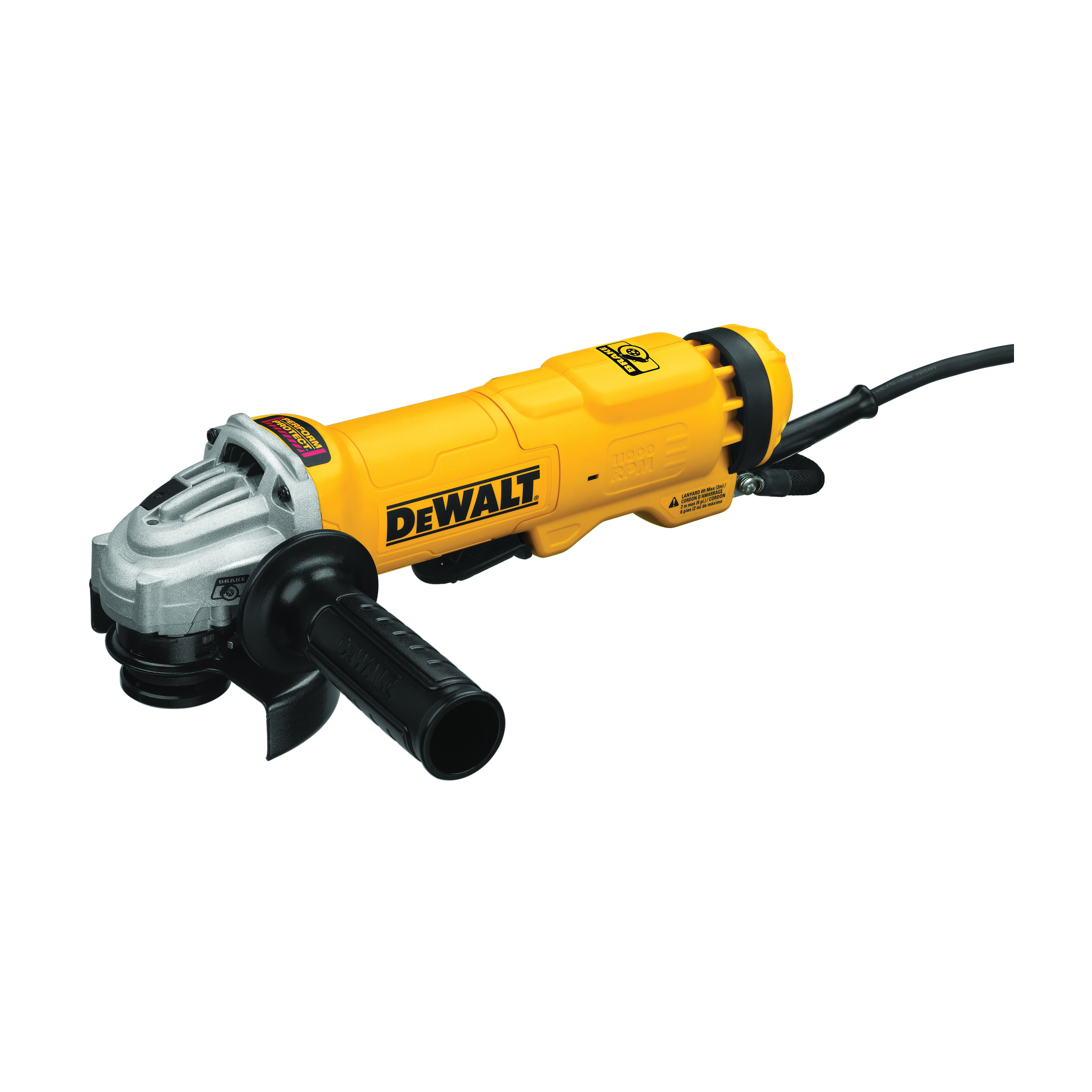 DeWALT® DWE4222N Heavy Duty Small Electric Angle Grinder With Brake and No-Lock On, 4-1/2 in Dia Wheel, 5/8-11 UNC Arbor/Shank, 120 VAC, Black/Yellow, Yes, Non-Locking Paddle Switch