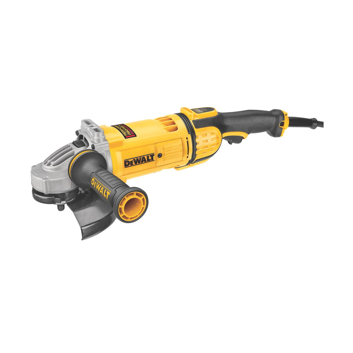 DeWALT® DWE4597N Protect™ Large Angle Grinder, 7 in Dia Wheel, 5/8-11 Arbor/Shank, 120 VAC, Yellow, Yes Dust Management, Lock-On/Off Trigger Switch Switch, Tool Only