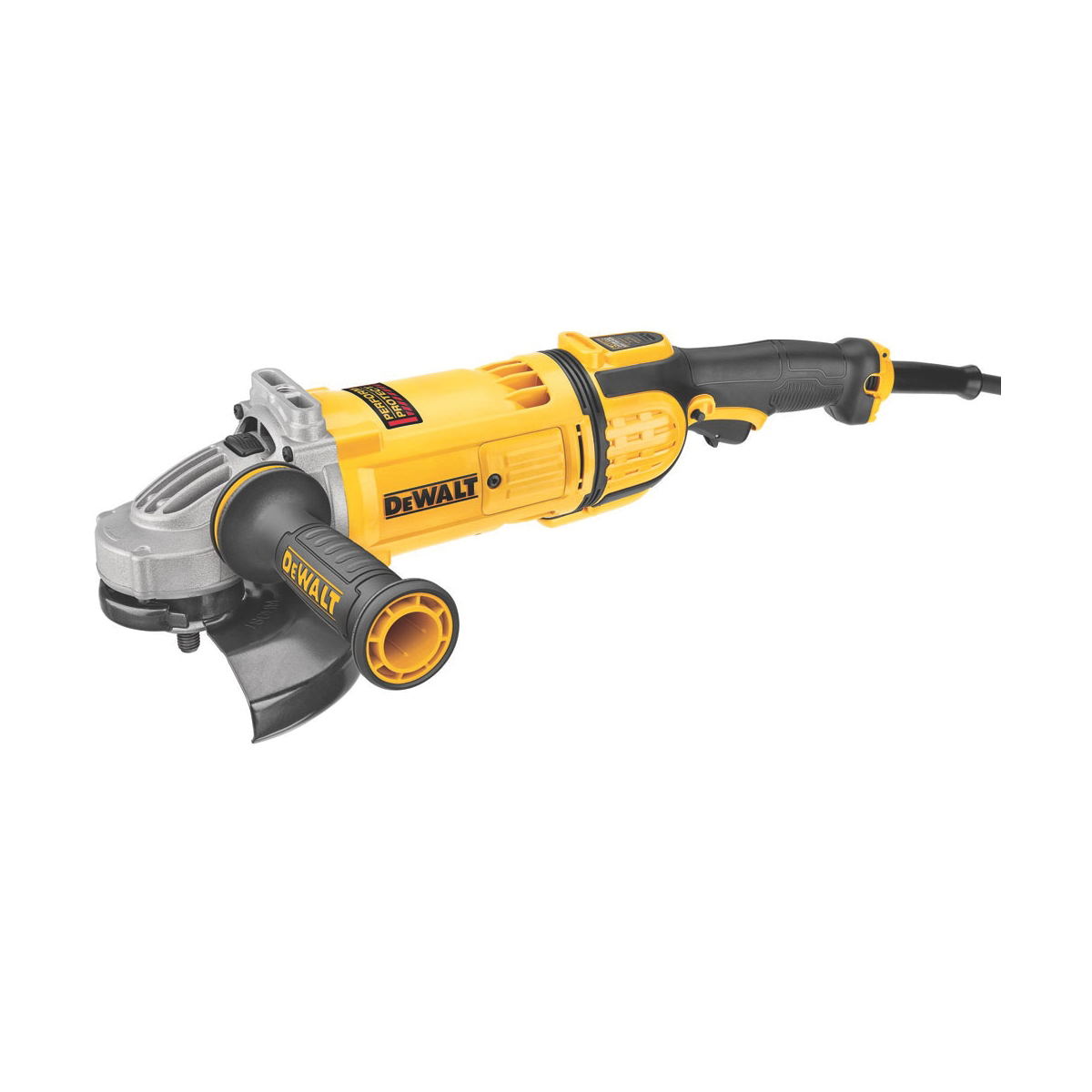 DeWALT® DWE4597 Protect™ Large Angle Grinder, 7 in Dia Wheel, 5/8-11 Arbor/Shank, 120 VAC, Yellow, Yes Dust Management, Lock-On Trigger Switch Switch, Tool Only
