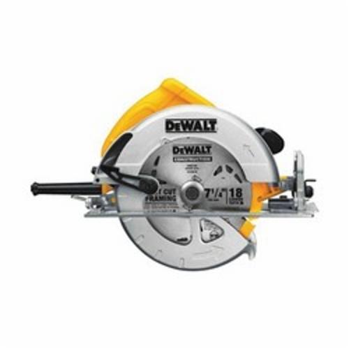 DeWALT® DWE575 Lightweight Next Generation Circular Saw, 7-1/4 in Dia Blade, 5/8 in Arbor/Shank, 1-7/8 in at 45 deg, 2-9/16 in 90 deg Cutting, Right Blade Side