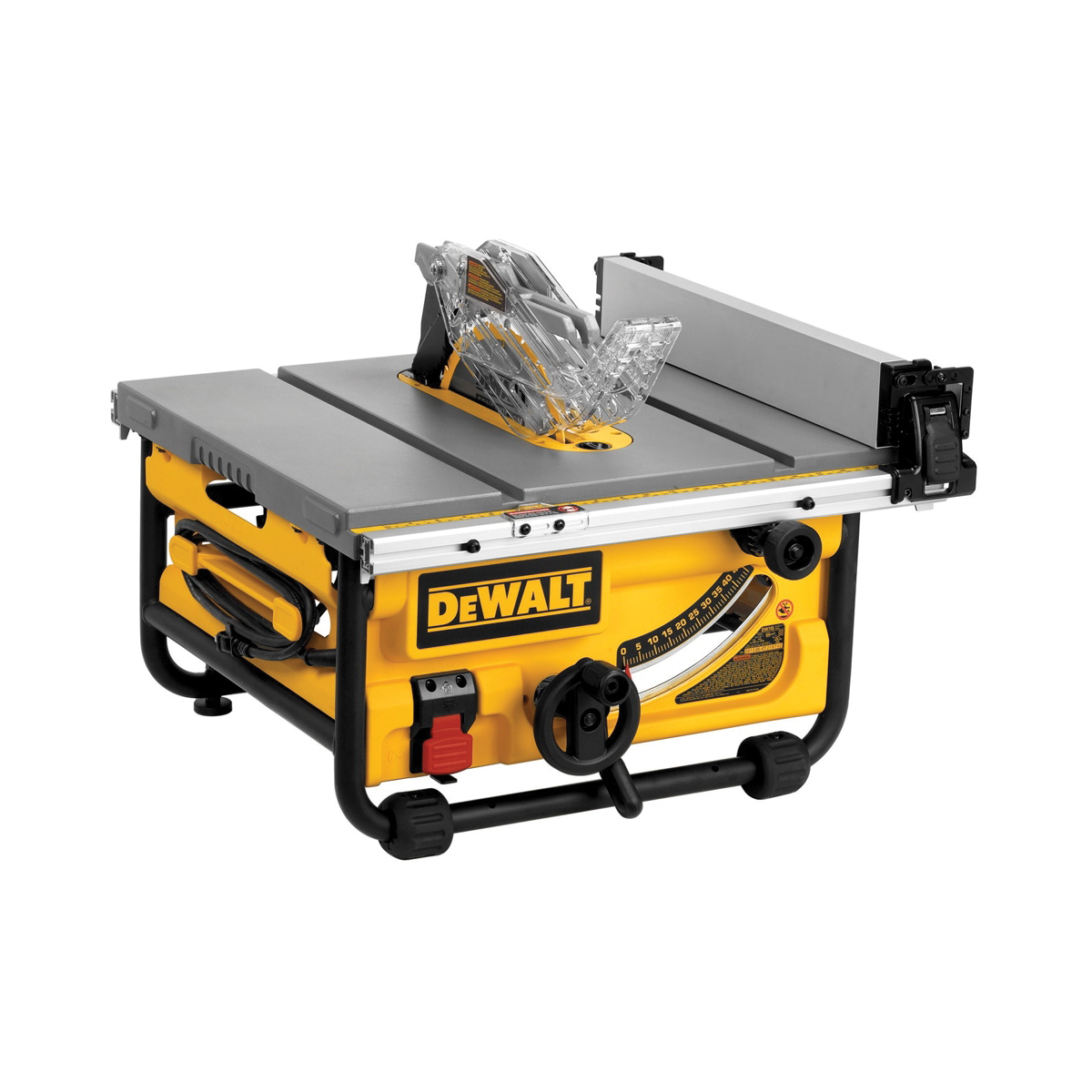 DeWALT® DWE7480 Compact Jobsite Table Saw With Site-Pro Modular Guarding System, 10 in Dia Blade, 5/8 in Arbor/Shank, 3-1/8 in 90 deg Capacity, 2 hp, Tool Only