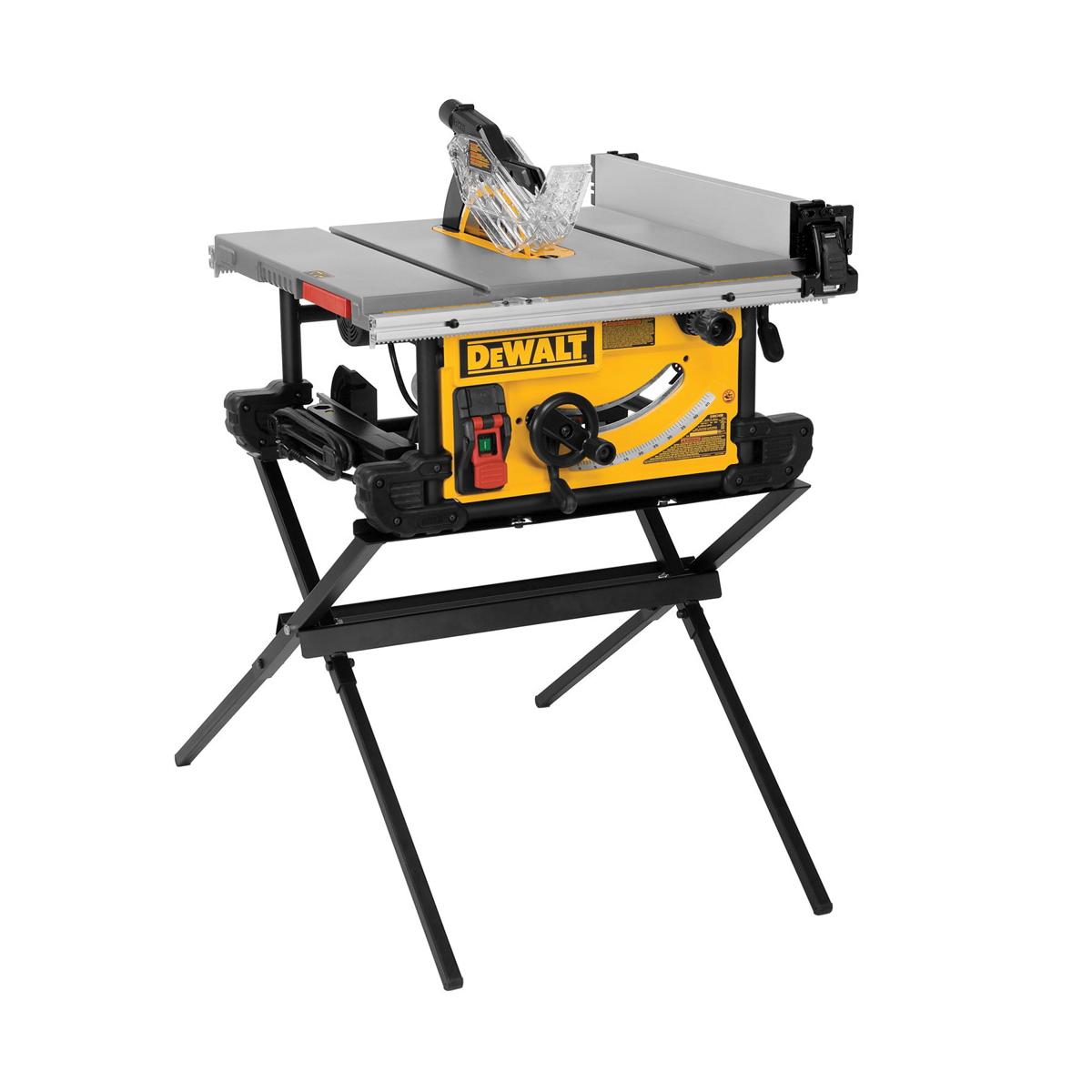 DeWALT® DWE7490X Jobsite Table Saw With Scissor Stand, 10 in Dia Blade, 5/8 in Arbor/Shank, 3-1/8 in 90 deg Capacity, 2 hp, Tool Only