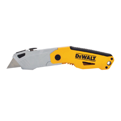 DeWALT® DWHT10261 Auto-Lock Folding Utility Knife, Retractable Blade, Push Button, Steel Blade, 3 Blades Included, 7-1/4 in OAL