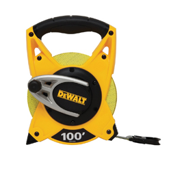DeWALT® DWHT34028 Long Open Reel Tape Rule, 100 ft L x 3/4 in W Blade, Fiberglass, Imperial, 1/8ths, 1/10ths