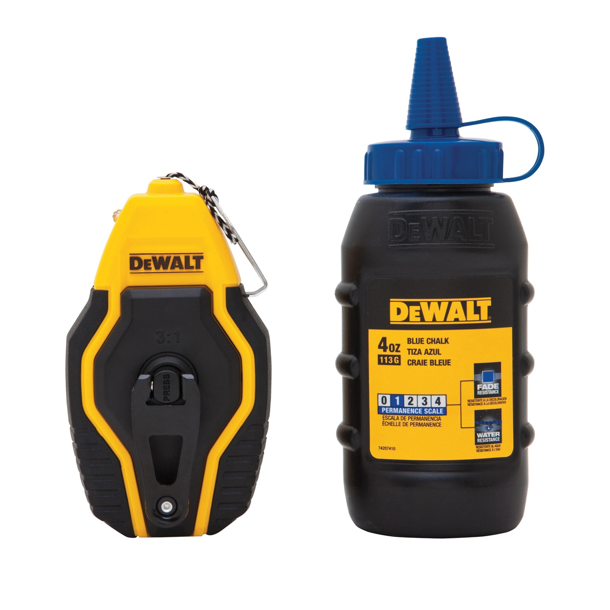 DeWALT® DWHT47257L Braided Compact Chalk Reel Kit With Blue Chalk, 30 ft L, 4 oz Chalk