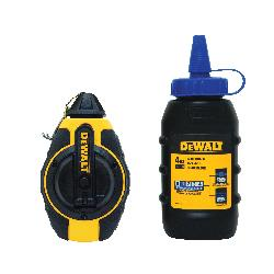 DeWALT® DWHT47373L Chalk Line Reel With Blue Chalk, 100 ft L Polyester Line, 4 oz Chalk, Sliding Door, Folding Crank Handle