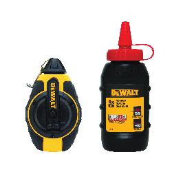 DeWALT® DWHT47374L Chalk Line Reel With Red Chalk, 100 ft L Polyester Line, 4 oz Chalk, Sliding Door, Folding Crank Handle