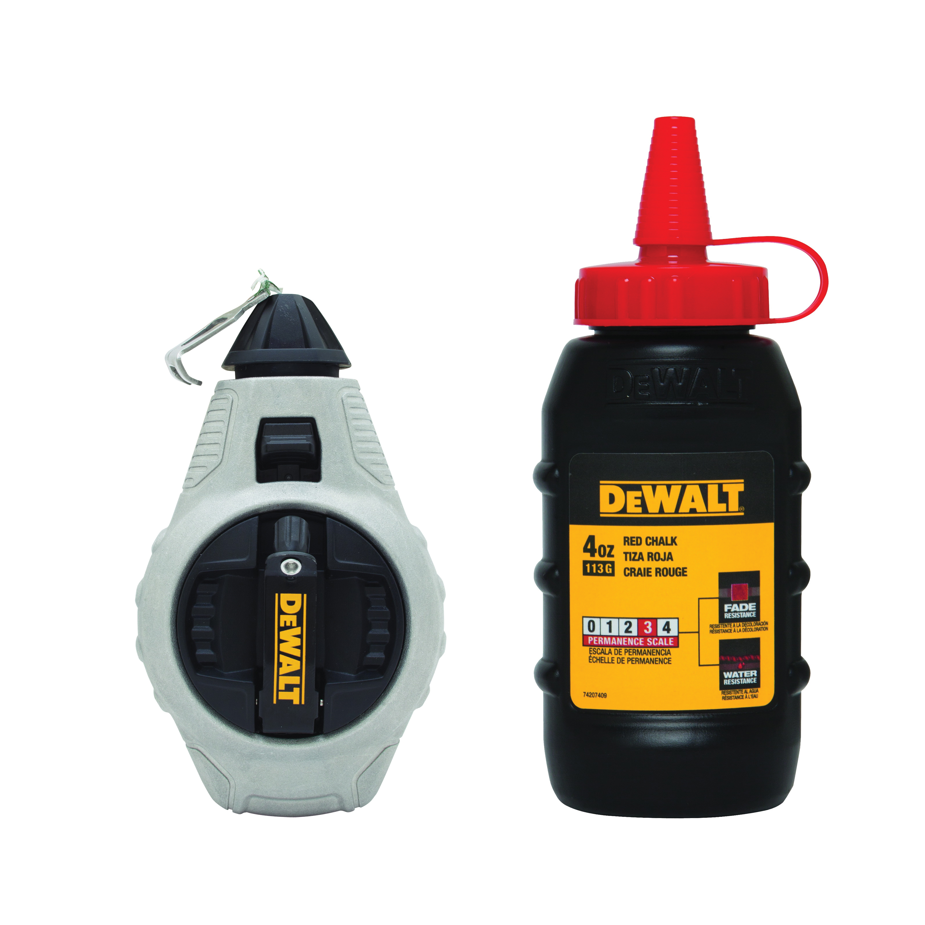 DeWALT® DWHT47376L Chalk Line Reel With Red Chalk, 100 ft L Polyester Line, 4 oz Chalk, Sliding Door, Folding Crank Handle