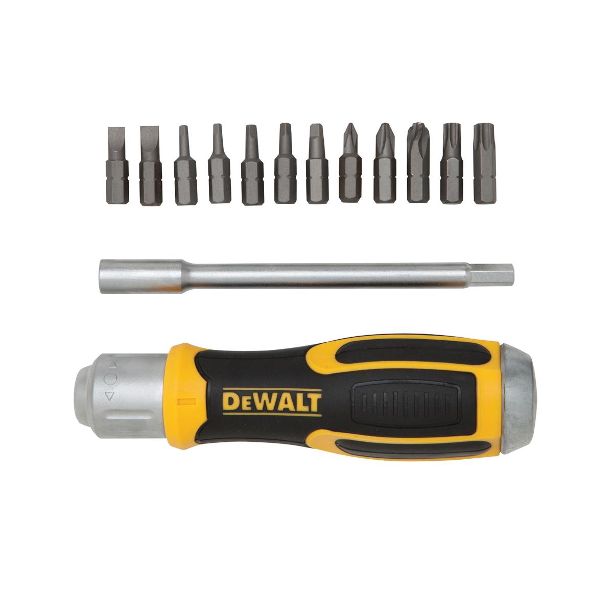 DeWALT® DWHT69233 Multi-Bit Ratcheting Multi-Bit Screwdriver, 13 Pieces, Comfort Grip Handle, Rubber