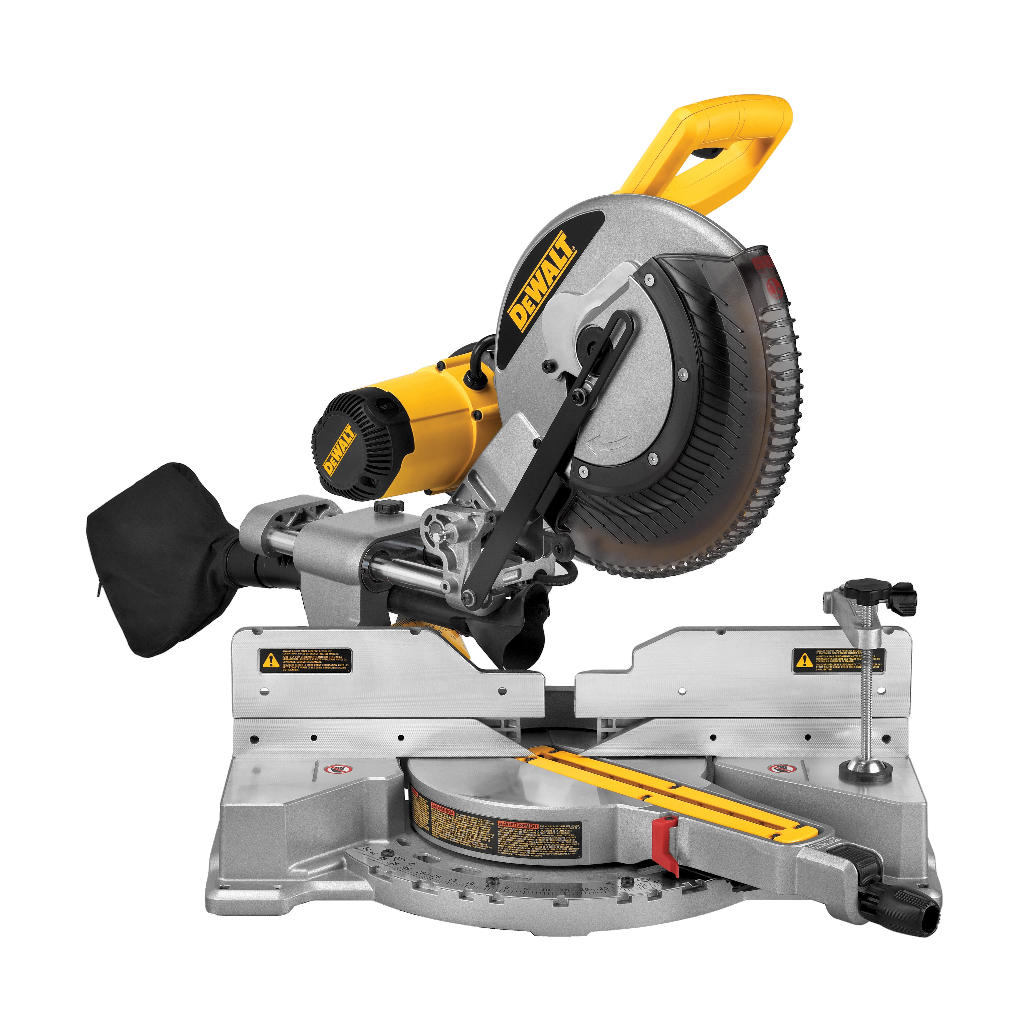 DeWALT® DWS709 Double Bevel Sliding Compound Miter Saw Kit, 12 in Dia Blade, 5/8 in, 1 in Arbor/Shank, 4-1/2 in Vertical, 5-1/2 in Vertically Nested and 9-1/2 in Horizontal Cutting, 60 deg Left/50 deg Right Miter, 2x10 in at 45 deg Bevel