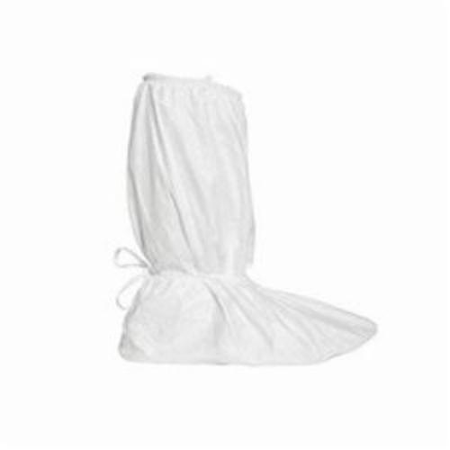 DuPont™ IC458BWHXL0100CS Boot Cover, XL Fits Shoe, White, Covered Elastic Opening/Tie at Ankle Closure, Tyvek® IsoClean®/Gripper™ Sole Outsole, Resists: Skid, Specifications Met: ASTM F2101, D3776, D774, D5034, D257, AATCC 127, 16 CFR 1610 Class 1