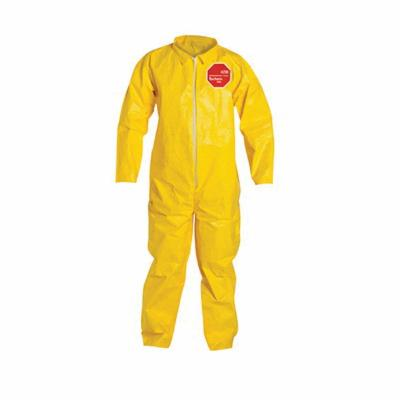 DuPont™ QC120SYL3X001200 Standard Coverall With Open Wrist and Ankle, 3XL, Yellow, 10 mil Tychem® 2000, 47-1/4 to 50-3/4 in Chest, 31-1/2 in L Inseam