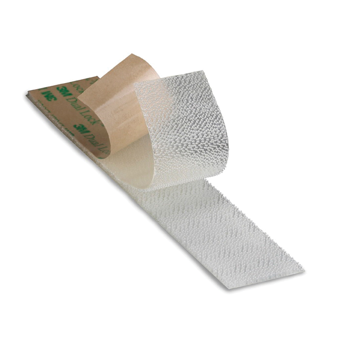 3M™ Dual Lock™ 021200-46071 Low Profile Mushroom Shaped Reclosable Hook and Loop Fastener Tape, 50 yd L x 4 in W, 0.098 in THK Engaged, Low Surface Energy Acrylic Adhesive, Polypropylene Backing, Clear