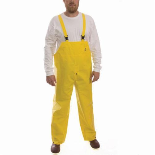 Tingley DuraScrim™ O56107-4X 2-Piece Bib Overall, Unisex, 4XL, Yellow, 10.5 mil PVC on Polyester Scrim, 33-1/2 in L Inseam