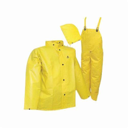 Tingley DuraScrim™ S56307.5X 3-Piece High Strength Rainsuit, 5XL, Yellow, Polyester/PVC, 58 in Waist, 33-1/2 in L Inseam, Detachable Hood