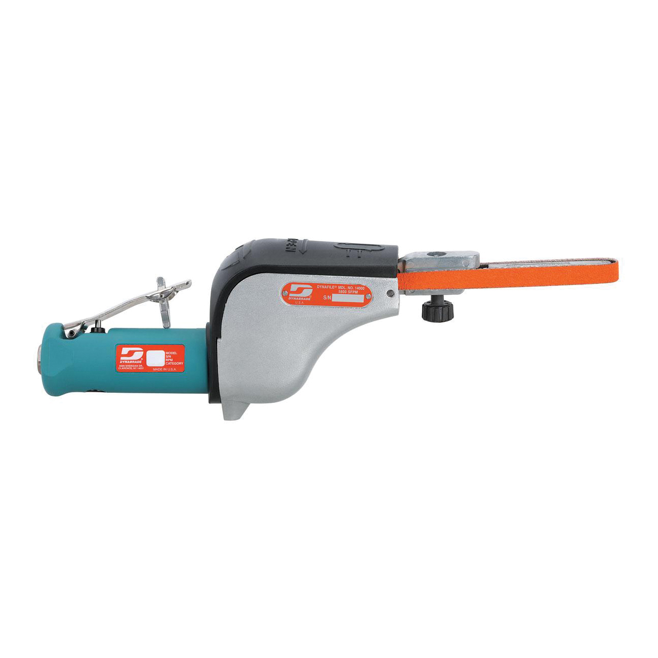 Dynabrade® Dynafile® 14000 Straight Line Abrasive Belt Tool, 1/8 to 1/2 in W x 24 in L, 0.5 hp, 31 scfm Air Flow, 90 psi