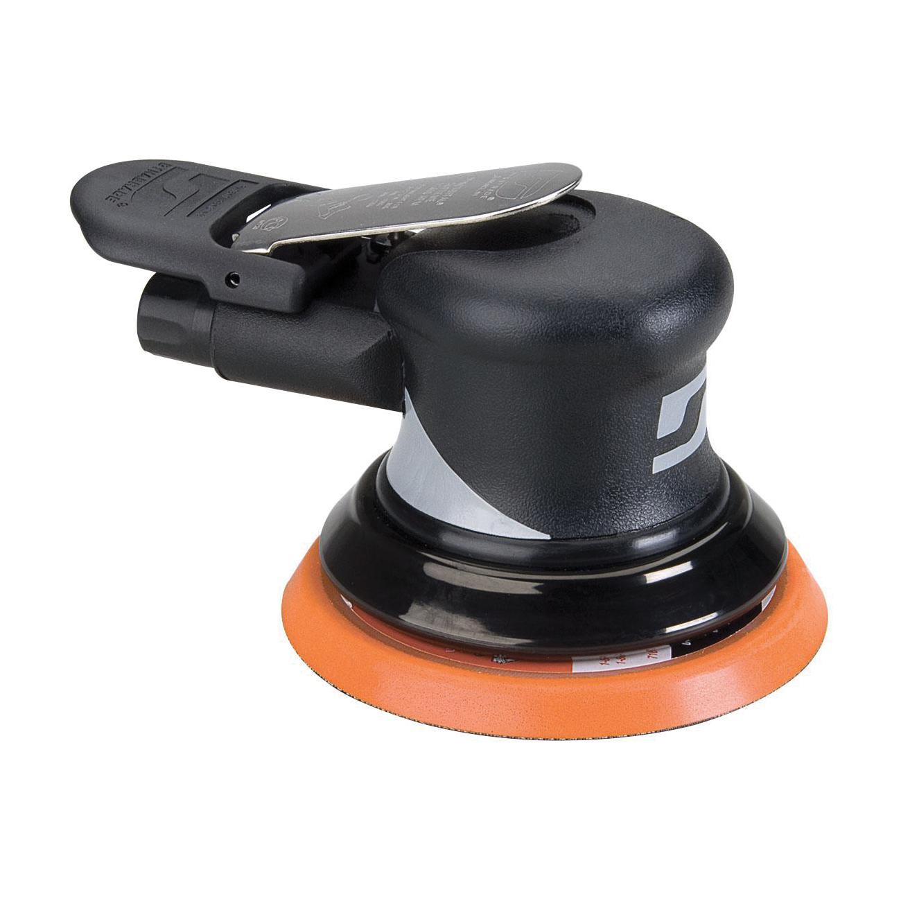 Dynabrade® Dynorbital® Supreme 56815 Non-Vacuum Palm Style Random Orbital Sander, 5 in Round Pad, 18 scfm Air Flow, 90 psi