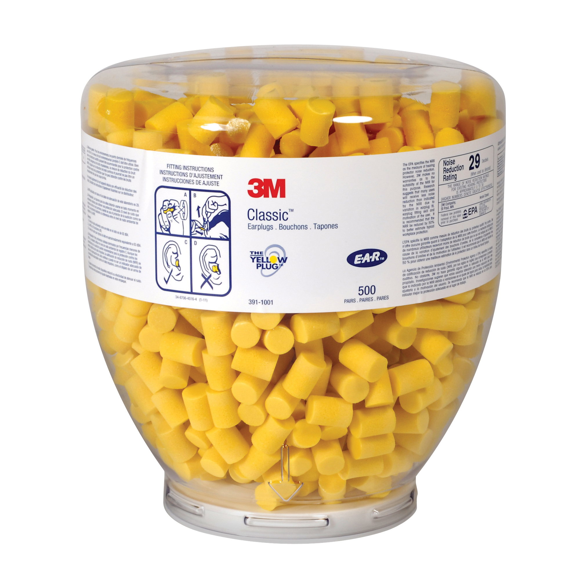 3M™ E-A-R™ 080529-91001 Classic™ One Touch™ Roll Down Earplugs, 29 dB Noise Reduction, Cylindrical Shape, CSA Class AL, Disposable, Uncorded Design