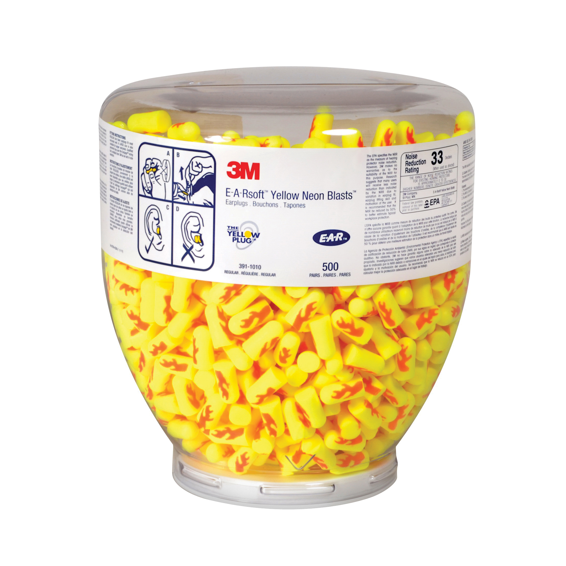 3M™ E-A-R™ 3M™ E-A-Rsoft™ 080529-91012 Blasts™ Dispenser Refill, 33 dB Noise Reduction, Tapered Shape, CSA Class AL, ANSI S3.19-1974, Disposable, Uncorded Design