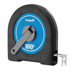 Empire® 6699 Measuring Tape, 100 ft L x 3/8 in W Blade, Steel, Imperial, 1/8 in