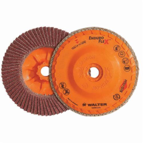 Walter Surface Technologies Enduro-Flex™ 06B604 06-B Close Spin-On Coated Flap Disc, 6 in Dia Disc, 40 Grit, Coarse Grade, Zirconia Alumina Abrasive, Type 27S Disc