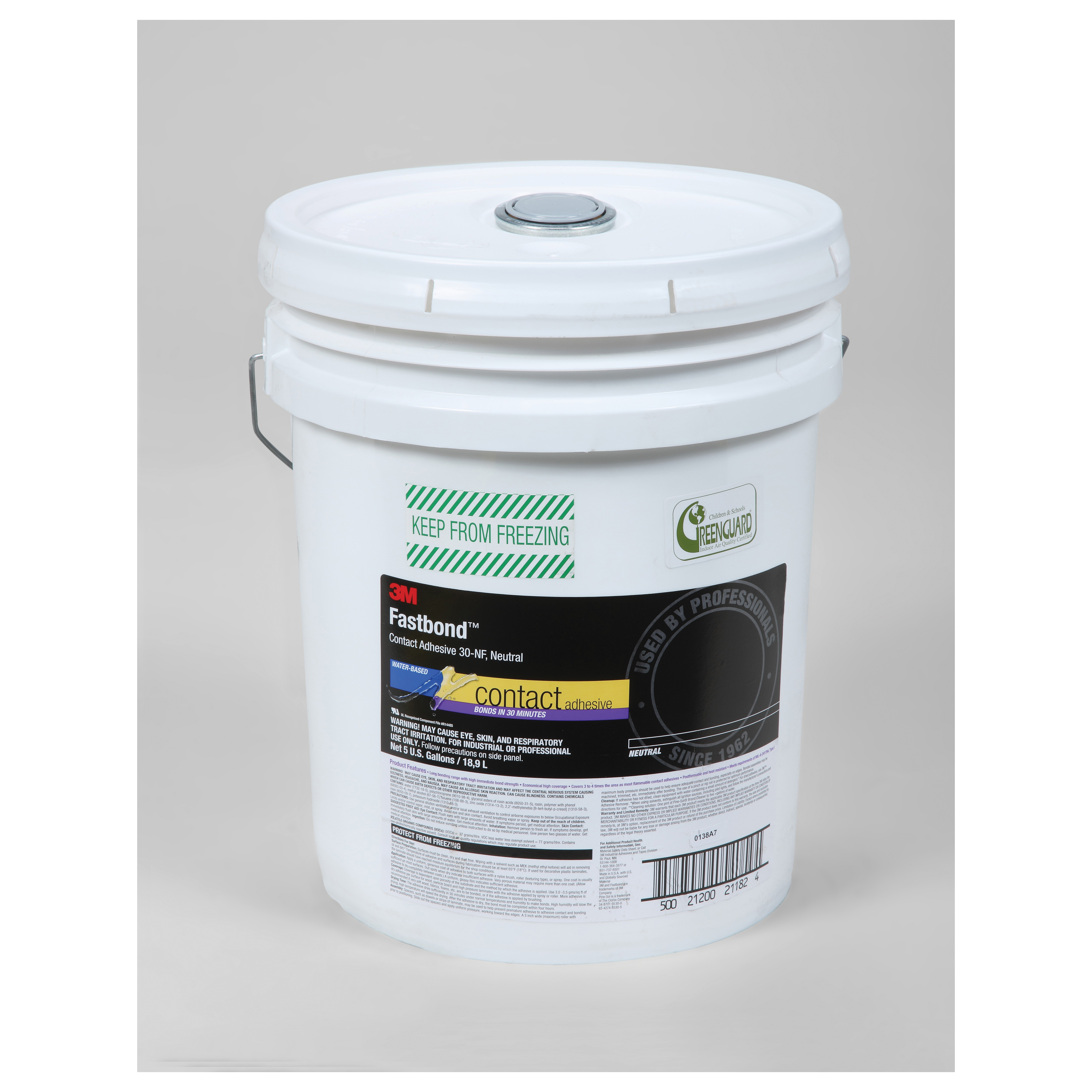 3M™ Fastbond™ 021200-21182 High Strength Non-Flammable Contact Adhesive, 5 gal Pail, White, Up to 4 hr Curing