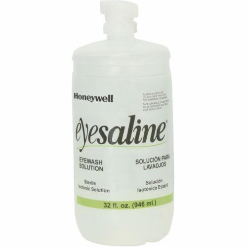 Honeywell Safety 32-000455-0000 Eyesaline® Portable Personal Eyewash Bottle With Extended Flow Nozzle, 32 oz Bottle, ANSI Z358.1, FDA Approved