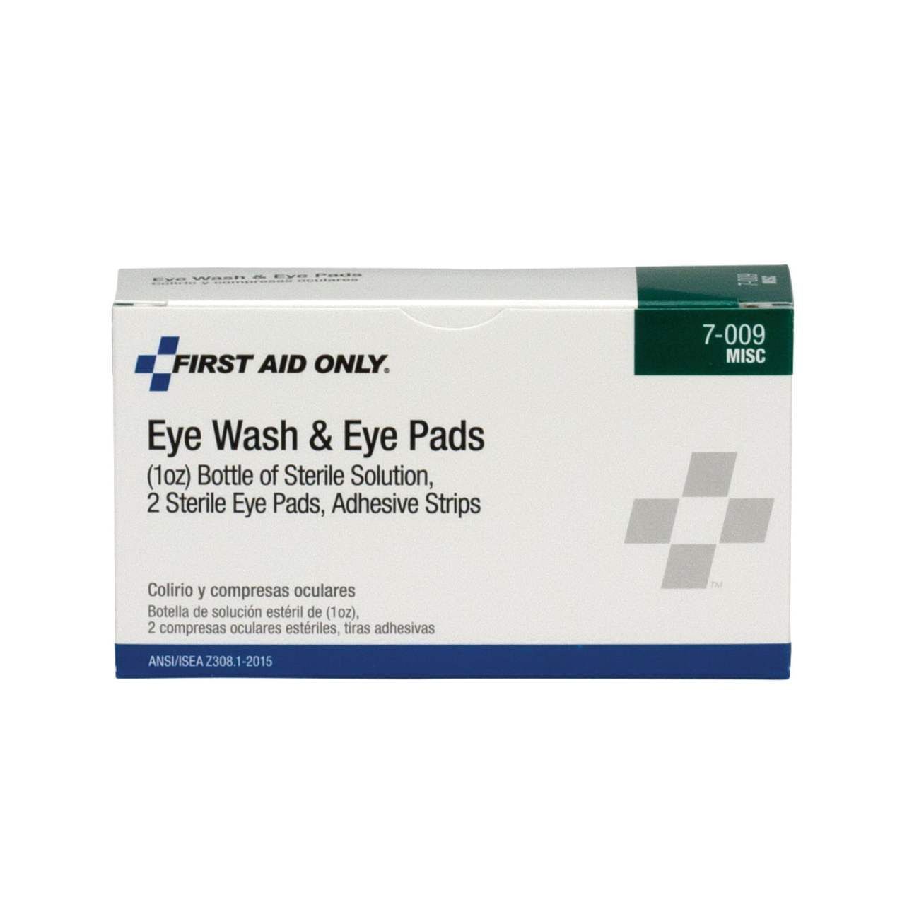 First Aid Only® 7-009-001 Eye Flush Set, 1 oz Bottle, For Use With First Aid Kit, ANSI 2015 Class A