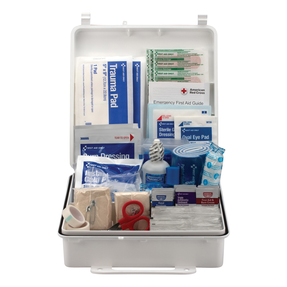 First Aid Only® 90566 First Aid Kit, Wall Mount, 195 Components, Plastic Case, 2-3/4 in H x 9.19 in W x 9.19 in D