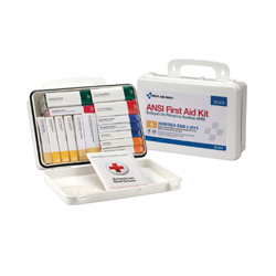 First Aid Only® 90569 Portable Weatherproof First Aid Kit, Wall Mount, 82 Components, Plastic Case, 7 in H x 3 in W