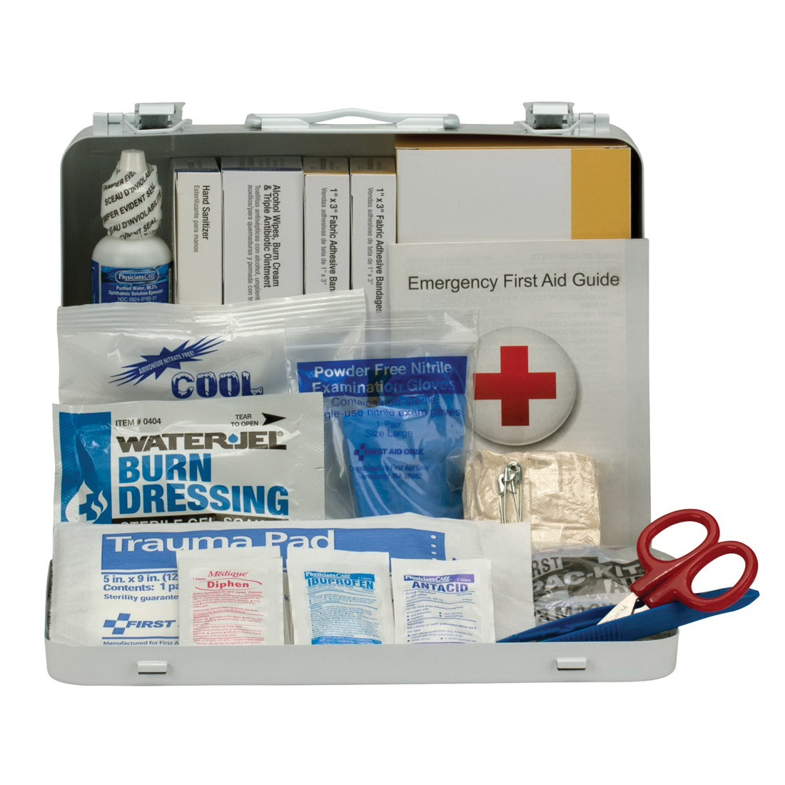 First Aid Only® 90672 Vehicle ANSI A+ First Aid Kit, Wall/Surface Mount, 114 Components, Metal Case, 6 in H x 9.063 in W x 2-3/8 in D