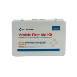 First Aid Only® 90673 Portable Weatherproof First Aid Kit, Wall Mount, 279 Components, Metal Case, 9 in H x 2.63 in W