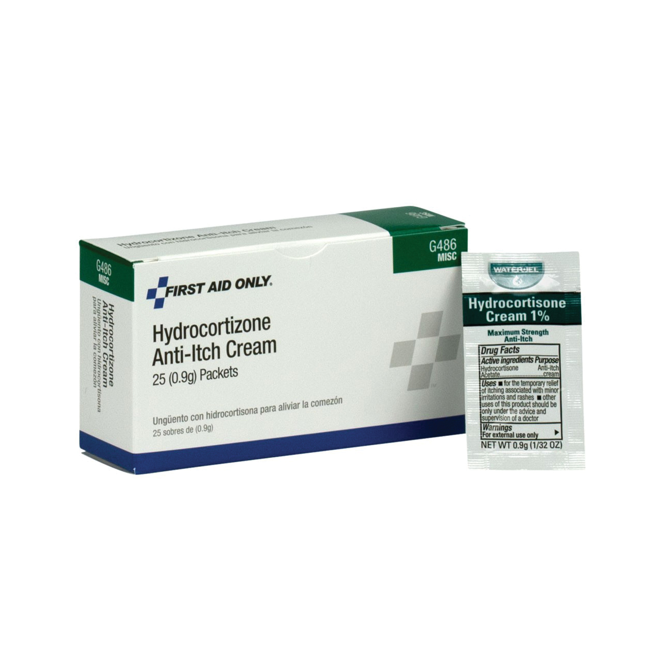 First Aid Only® G486 Hydrocortisone Cream, Unit Dose Pack Packing, Formula: 0.9 g Hydrocortisone Acetate