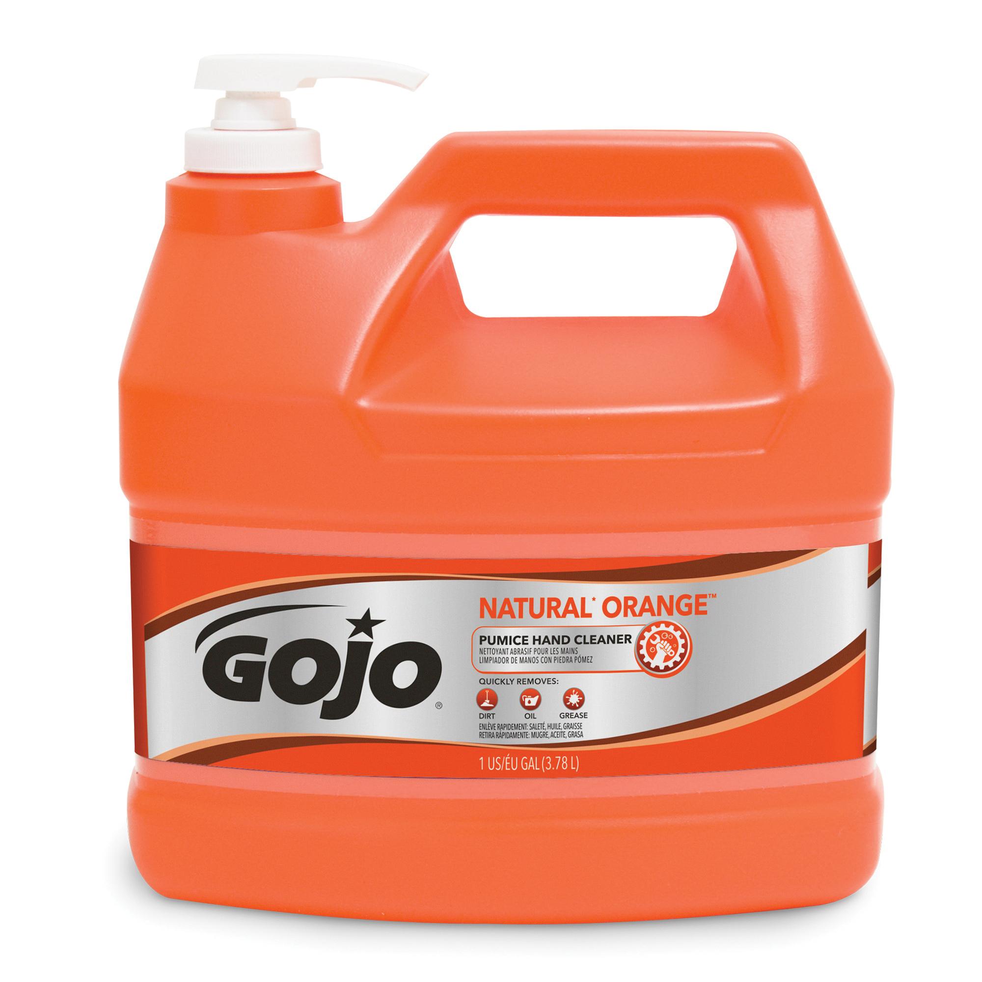 GOJO® 0955-02 NATURAL ORANGE™ Pumice Hand Cleaner, 1 gal Nominal, Pump Bottle Package, Liquid Form, Citrus Odor/Scent, White, Case of 2