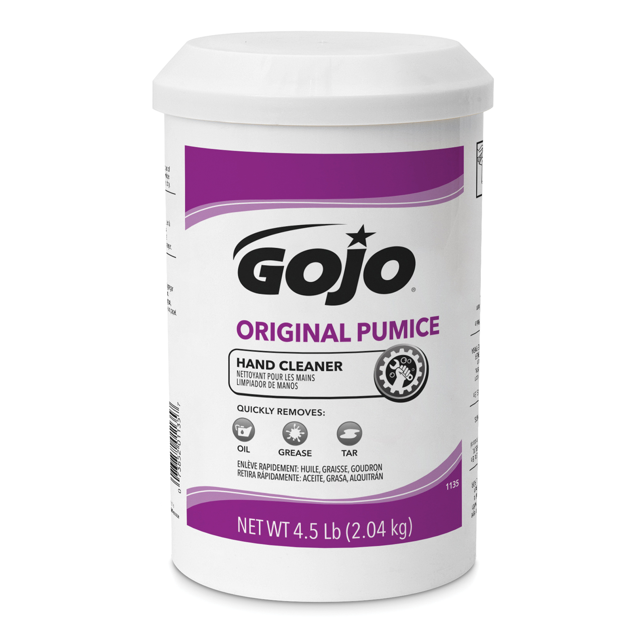 GOJO® 1135-06 Original Pumice Hand Cleaner With Fine Italian Pumice Scrubbers, 4 lb Nominal, Cartridge/Dispenser Refill Package, Creamy Form, Citrus Odor/Scent, Opaque/Yellow