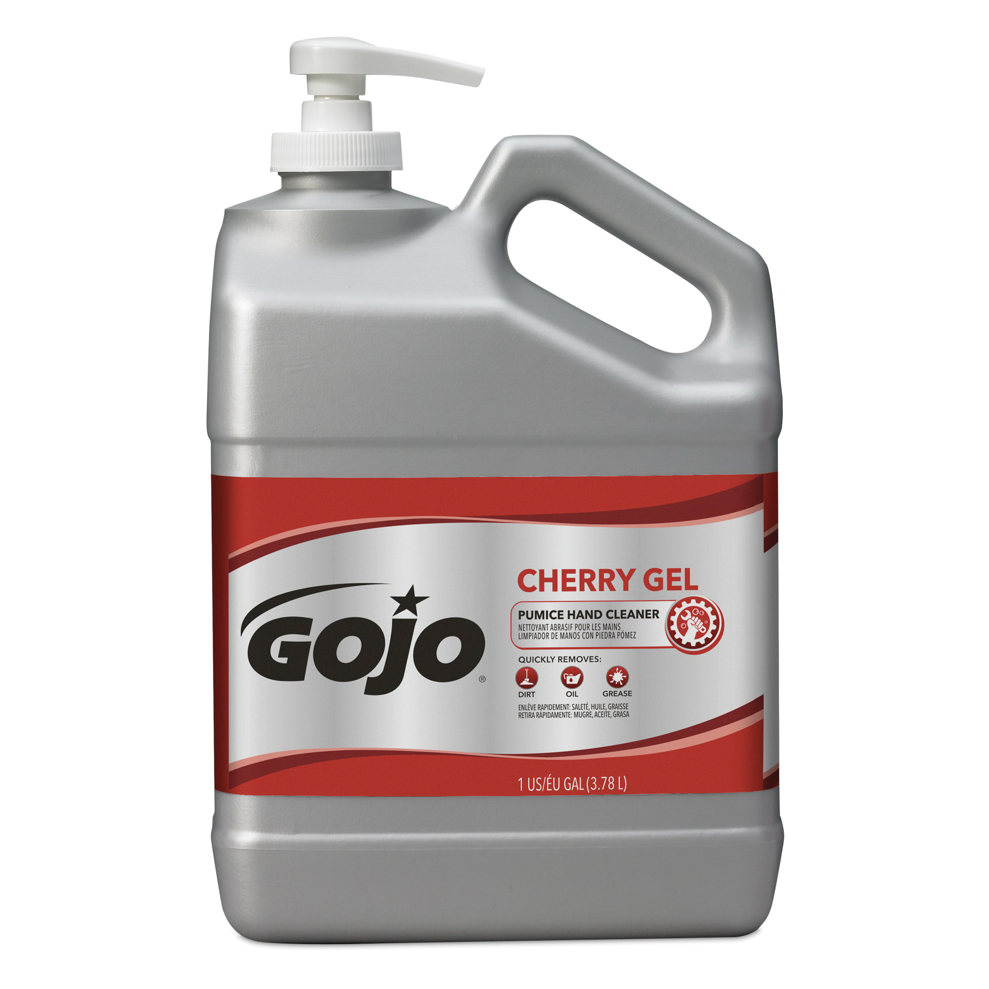 GOJO® 2358-02 Pumice Hand Cleaner With Pumice Scrubbers, 1 gal, Bottle, Gel, Cherry, Translucent Red