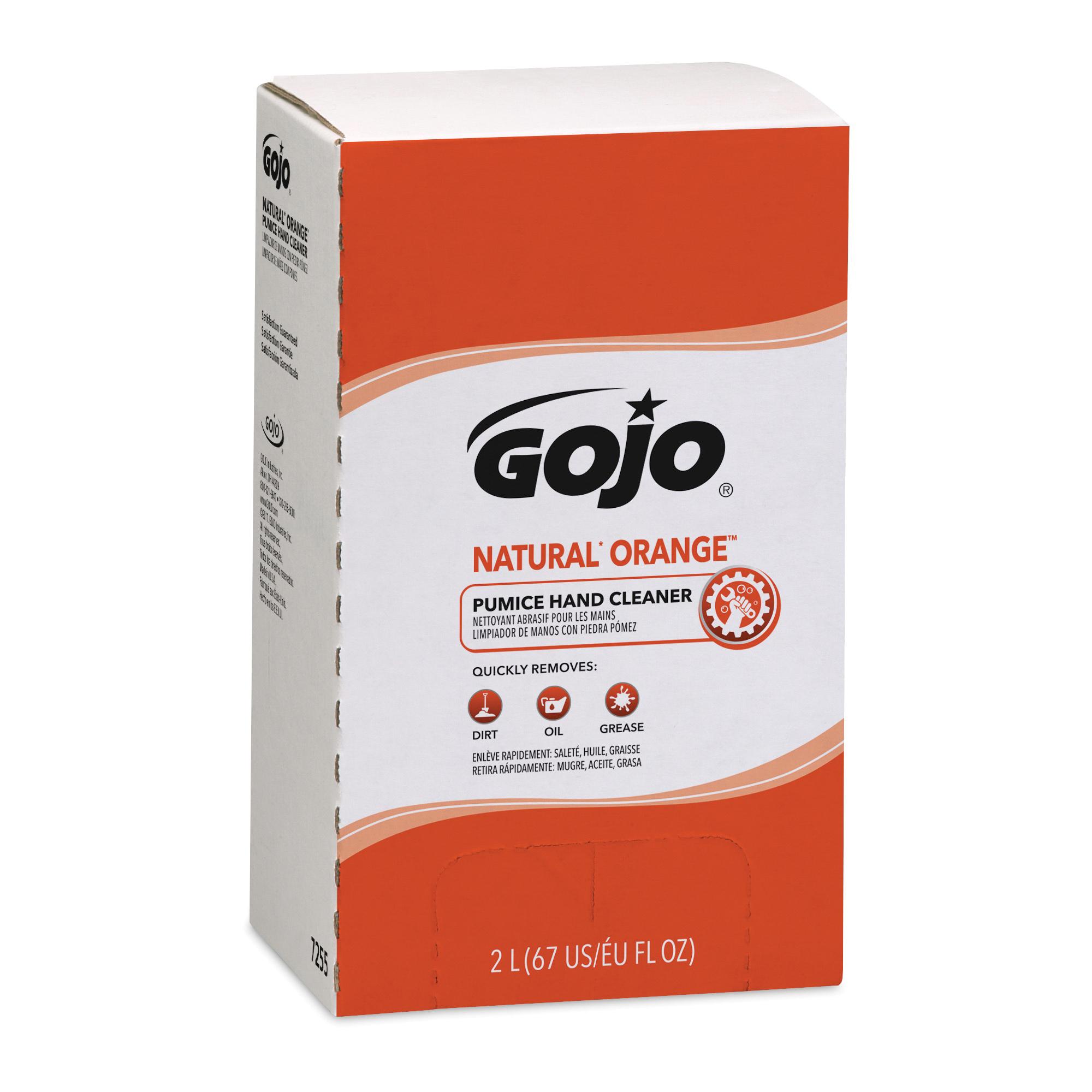 GOJO® 7255-04 NATURAL ORANGE™ PRO™ TDX™ Pumice Hand Cleaner With Pumice Scrubbers, 2000 mL, Dispenser Refill, Lotion, Citrus, Orange