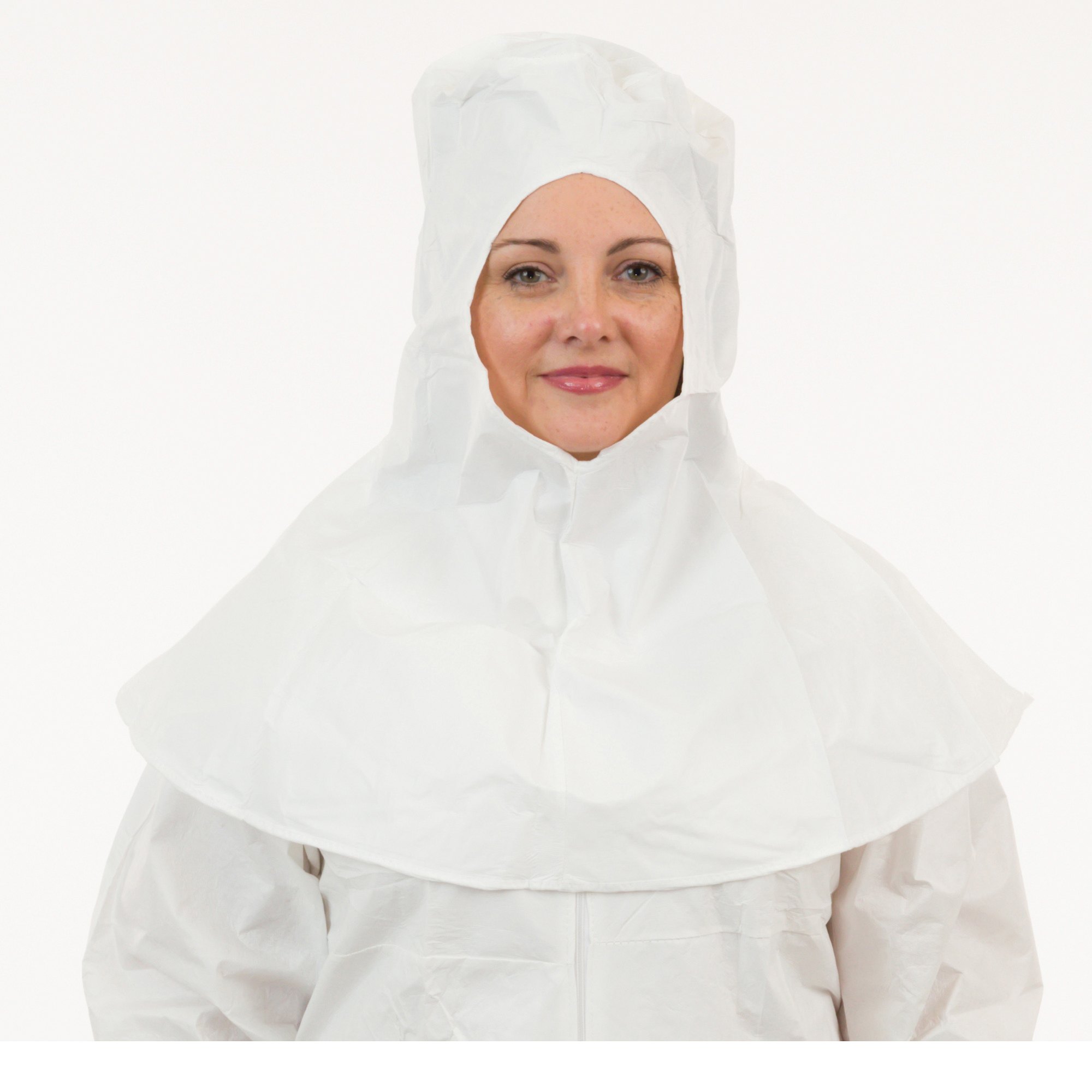 GammaGuard® CE CE11063CIS Bound Seam Clean Processed Sterile Hood With Tunnelized Elastic Face, Universal, White, Proprietary Laminated Non-Woven, Elastic Closure
