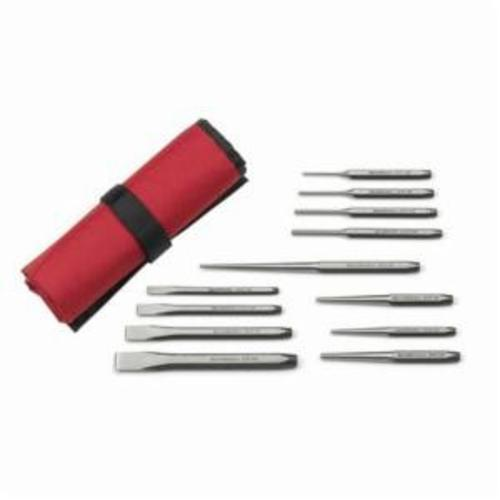 GEARWRENCH® 82305 Punch and Chisel Set, Centre, Cold, Long Taper, Pin, Starter Style, 1/4 to 5/8 in Chisel, 3/32 to 3/8 in Punch, 8 Punches, 4 Chisels, 12 Pieces
